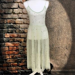 FB - Enchanting mint beaded sheer midi slip dress